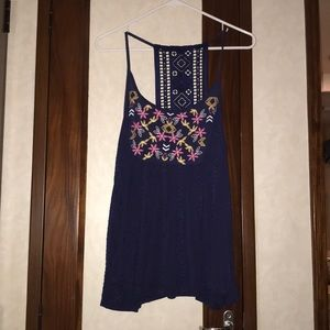 Navy blue floral tank top